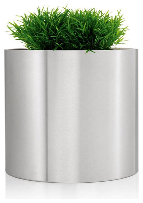 modern planters and pots greens round stainless steel planter 15 75 quot modern