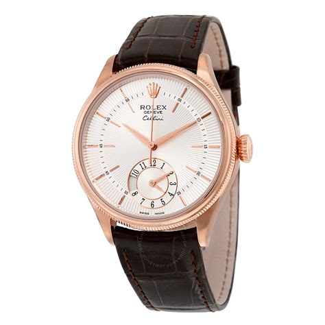 rolex cellini dual time silver 18kt everose gold