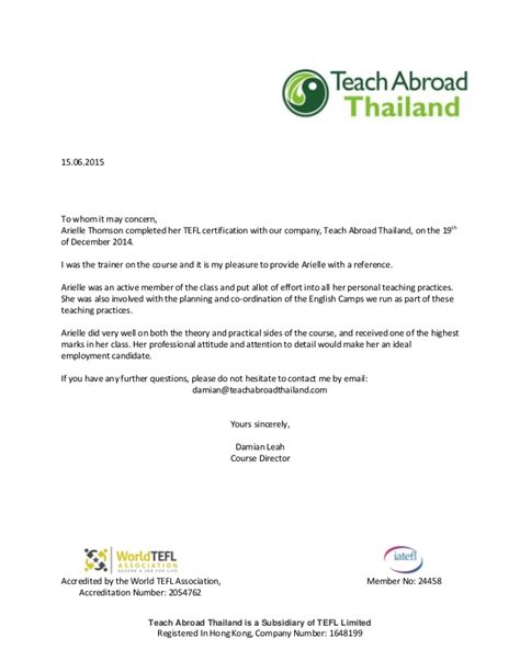 tefl cover letter reference letter for teaching abroad docoments