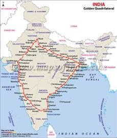 golden quadrilateral highway network map