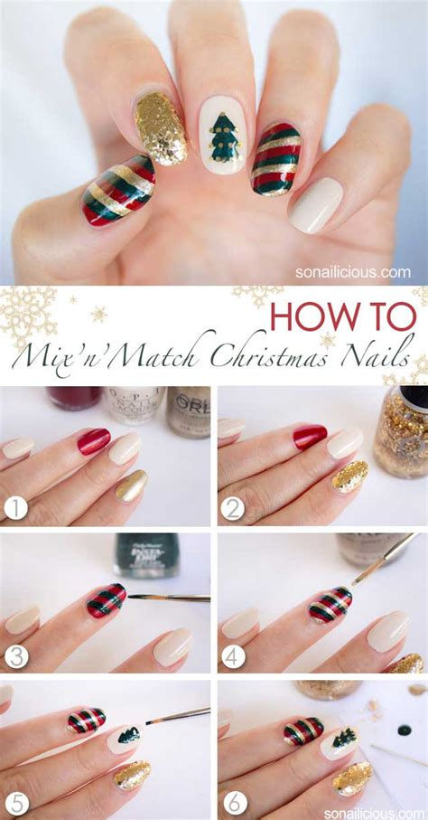 christmas nail art tutorial easy easy christmas nail designs tutorials 2017 step by step