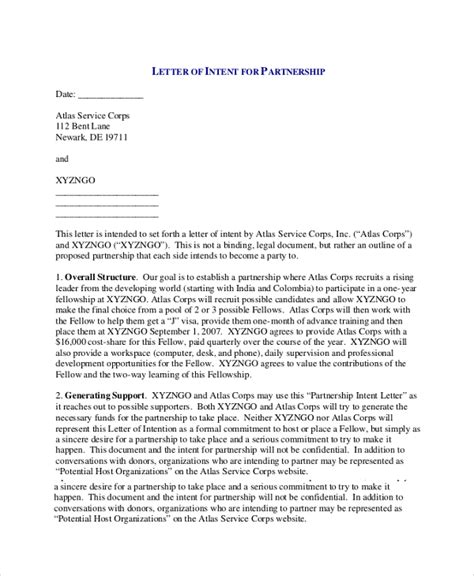 Letter Of Intent On Partnership Sle Letter Of Intent 43 Exles In Pdf Word