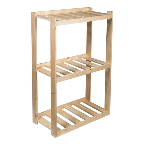 Crates Pallet 37 5 In 3 Shelf Wood Shelving Unit In Home Depot Shelving Wood