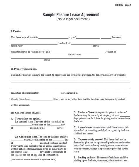 printable pasture lease agreement download free sle pasture lease agreement printable