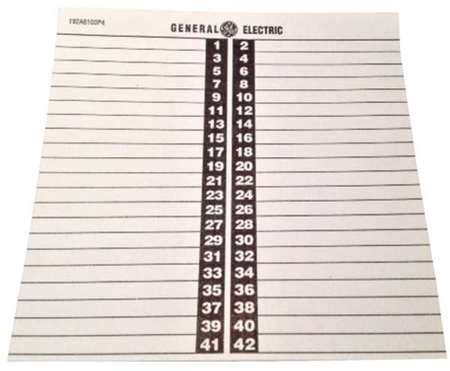 General Electric Circuit Directory 6 25inwx6 5inl Td42 Zoro Com Electrical Panel Directory Template