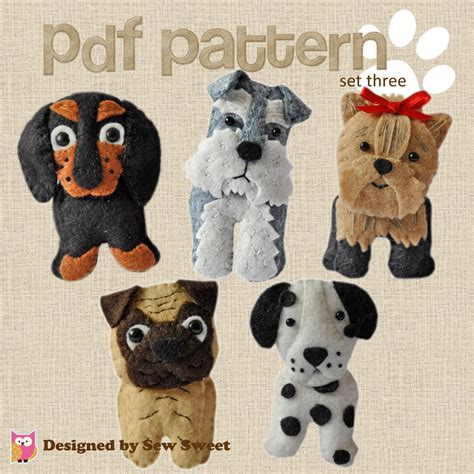 felt yorkie pattern cute plush dogs sewing pdf pattern set three pug