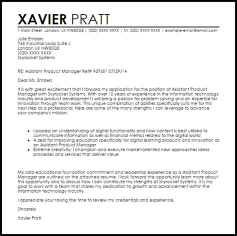 cover letter for brand manager assistant product manager cover letter sle livecareer