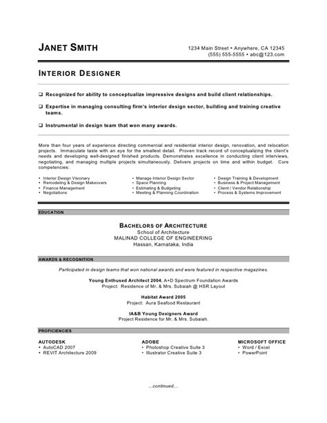 resume sles for interior designers interior designer resume by c coleman