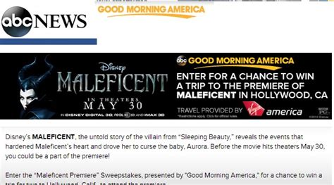 Good Morning America Giveaways - abc good morning america maleficent sweepstakes sweeps maniac