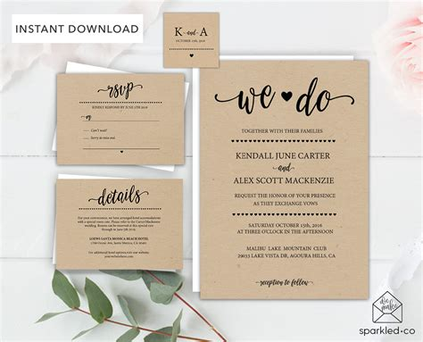 etsy wedding invitation template rustic wedding invitation template wedding by sparkledco