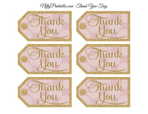 printable thank you tags for bridal shower favors pink gold thank you tags printable gold glitter pink