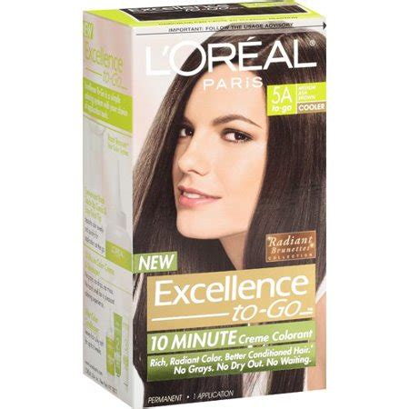 l oreal excellence creme permanent hair color medium ash brown 5 1 1 74 oz pack of 3 l oreal excellence to go 10 minute creme colorant medium ash brown 5a walmart