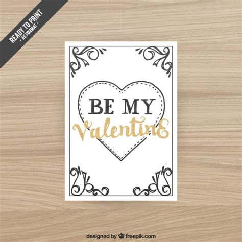 handwritten retro valentines day card vector free