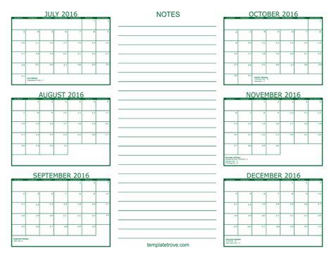 A Calendar 6 Month Calendar 2016