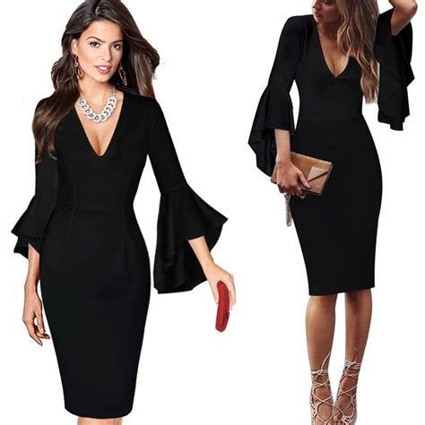 V Neck Bell Sleeve Sheath Dress v neck flare bell sleeves work office