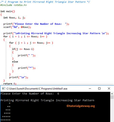 c program for triangle pattern c program to print mirrored right triangle star pattern