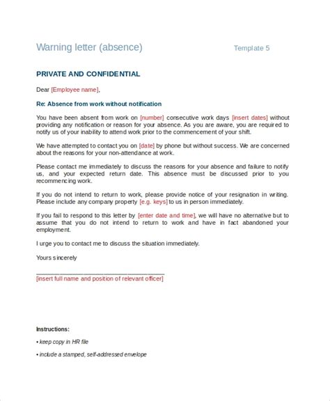Response Letter For Non Compliance Warning Letter For Absenteeism Format Anamisat