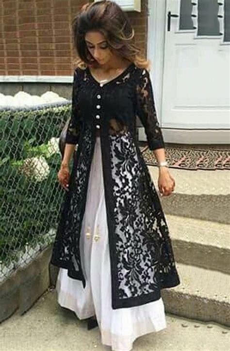 net pattern gown net machine work black unstitched long anarkali suit l2