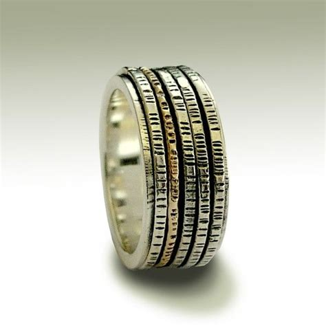wedding band sterling silver meditation ring with silver