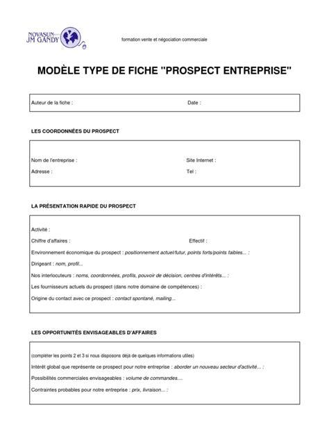 fiche prospection