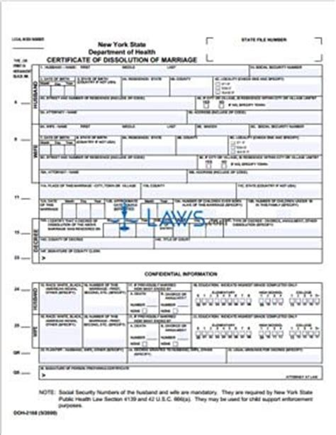 Dissolution Of Marriage Records Form Certificate Of Dissolution Of Marriage New York