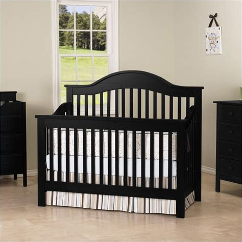 Black Baby Cribs Davinci 4 In 1 Convertible Wood Baby Crib W Toddler Rail In Traditional Cribs
