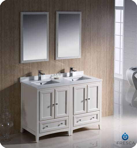 2 sink bathroom vanity 48 quot fresca oxford fvn20 2424aw traditional sink