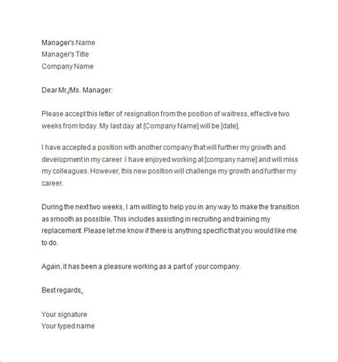letter of resignation example two weeks notice luxury sample