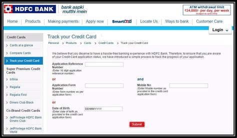 Credit Card Form Hdfc Hdfc Credit Card Status Track Your Hdfc Credit Card Application Status