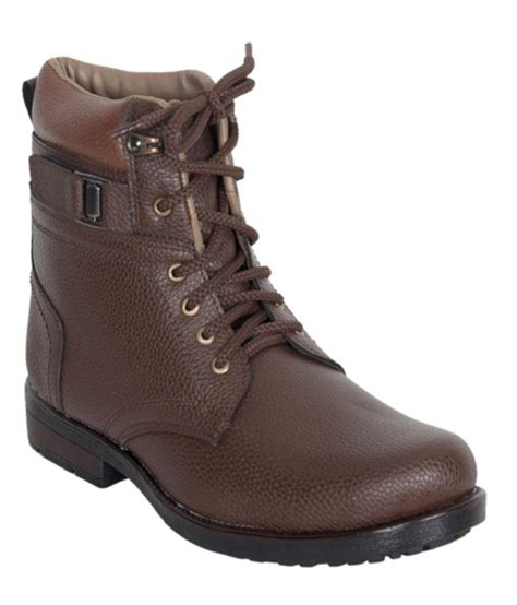leeport brown synthetic leather boots price in india buy