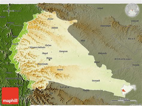 pune geographical map physical 3d map of pune darken