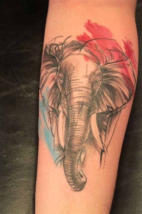 tattoo elephant leg watercolor elephant head tattoo on leg