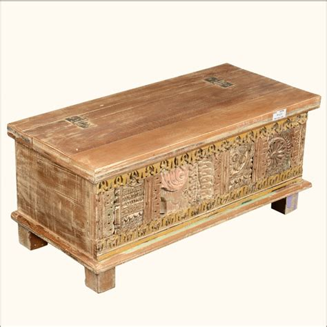 Decorative Chests by Rustic Reclaimed Wood New Delhi Carved Storage Trunk Chest Traditional Decorative