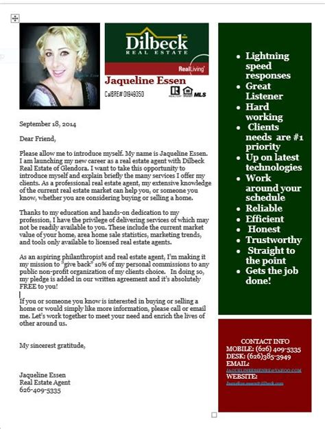 Mortgage Broker Letter To Realtor Introduction Letter Into My Real Estate Career With Dilbeck Glendora Ca About Me