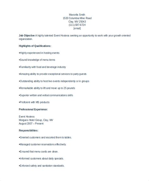 Hostess Resume Skills by Hostess Resume Skills Exle Template