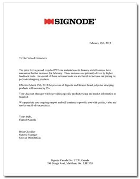 Service Price Increase Letter Increases March 2012