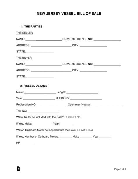 boat bill of sale new jersey free new jersey vessel bill of sale form word pdf