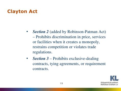 section 3 clayton act www klng com