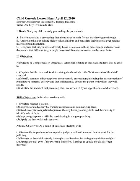 sample child support agreement new custody agreement form image