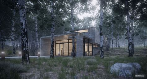forest render of house in the forest 3d architectural visualization rendering