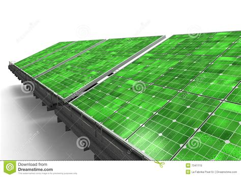 detail of a line of green solar panels royalty free stock