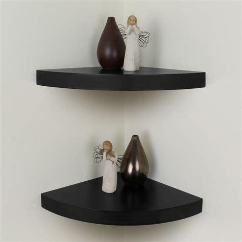 black chunky wood curved radial floating corner wall shelf pair set of 2 shelves ebay