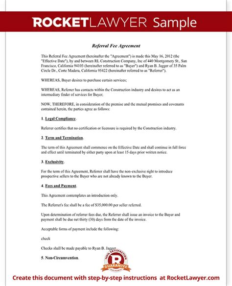 fee agreement template referral fee agreement template form with sle