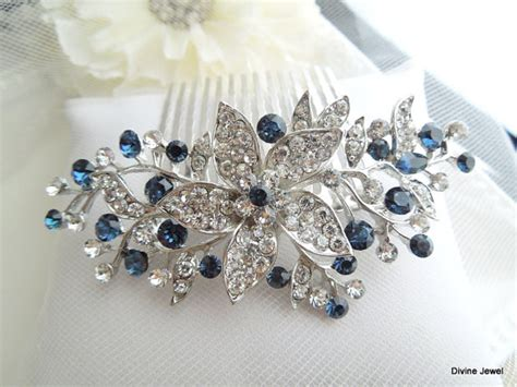 Royal Blue Hair Accessories For Weddings by Bridal Blue Swarovski Wedding Comb Wedding Hair