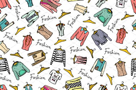 clothes pattern market pattern with hand drawn clothes patterns creative market