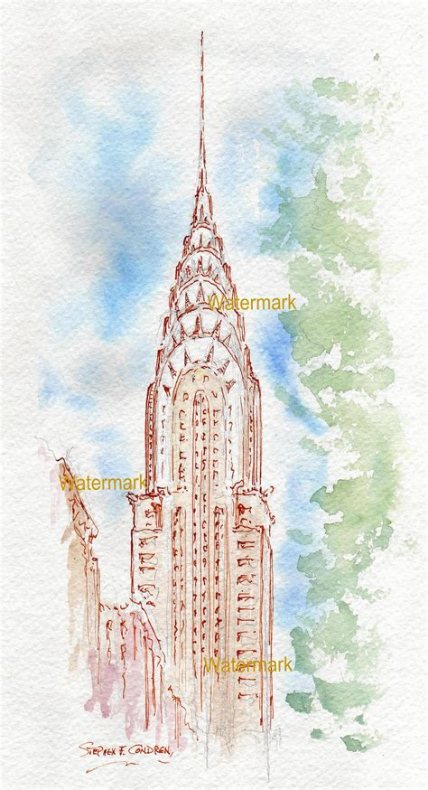 Chrysler Building Drawing by Chrysler Building Watercolor Painting With Pen Ink Line