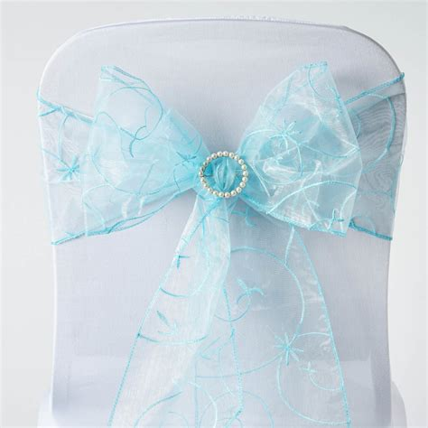light blue organza 10 light blue embroidered organza chair sashes ties bows