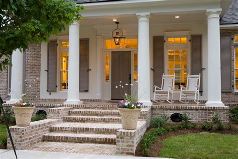 distressed trim porch traditional with neutral tones