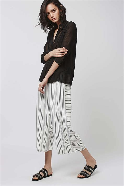 Topshops Flood Length Cropped Trouser by Stripe Cropped Wide Leg Trousers Topshop