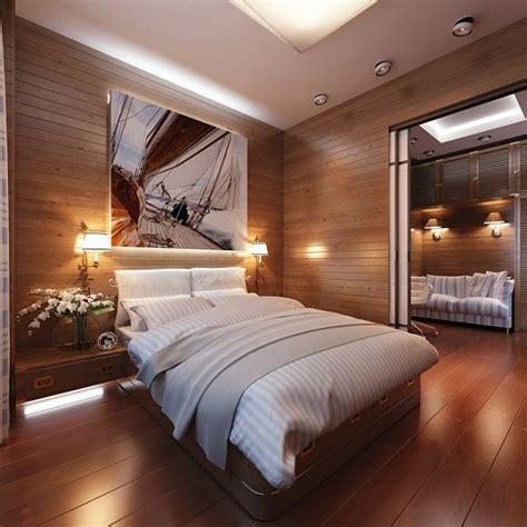 masculine bedroom with hardwood walls decoist